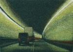 Jane Dickson Heading in Lincoln Tunnel 3, 2004 oil on astroturf 33 x 46 in