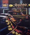 Jane Dickson Mardi Gras - 8th Ave., 1983 oilstick on canvas  18 x 16 inches
