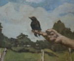 E.M. Saniga The Artist's Hand and a Young Crow, 2008 Oil On Panel 9.5 x 11 in