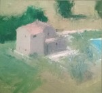 Stuart Shils Beyond the Town, House with a Swimming Pool, 2007 oil on linen mounted on panel 10.25 x 11.13 in