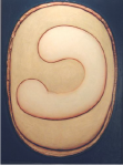 Gregory Gillespie Yin Yang, 1995 Oil on Wood 34 3/4 x 31 1/2 in