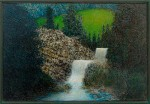 Gregory Gillespie Waterfall oil on Panel 11 3/4 x 17 1/8 in